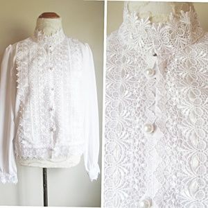 Vintage White Lace Victorian Style High Neck Shirt